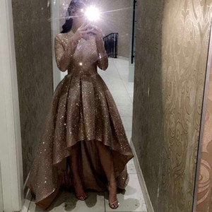 BlingBling High Low A Line Prom Dresses Long Sleeves Pageant Party Formal Gowns O-Neck Ruched Bride Formal Dresses Evening