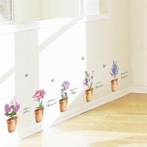 creative plant flower pot butterfly wall decals bedroom home decor 30*90cm wall stickers diy wallpaper pvc mural art