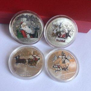 Colorida comemorativa de Natal Coin Mental Papai Noel Coin Souvenir Collectible Art alta qualidade e marca de Natal Decoração EWE2123