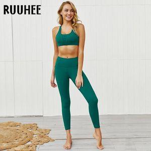 RUUHEE Yoga Set Women Seamless Gym Athletics Clothing Fitness Workout Set High Waist Leggings Exercise Outfits Female