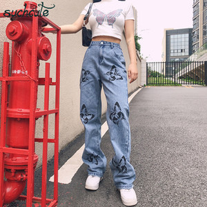 SUCHCUTE jeans femmes impression papillon Baggy Pantalon large Streetwear festival gothique danse slim Femme Joggers 200930