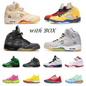 أعلى جودة رجل كيري air jordan retro 5  pe أحذية كرة السلة 5 ما البديل bel الإسفنج الأبيض جريس ايرفينغ 5 ثانية الفوال الأبيض musllin الرياضة أحذية رياضية