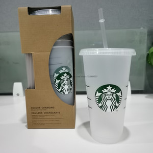 24oz Tumblers Plastic Drinking Juice Cup With Lip And Straw Magic Coffee Mug Costom Starbucks plastic Transparent cup free