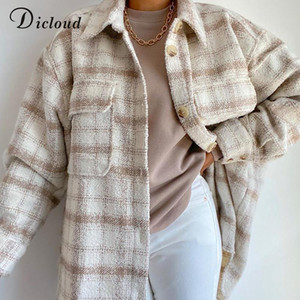 DICLOUD Women Winter Plaid Jacket Long Tweed Oversize Coat With Pockets Fashion Outerwear Ladies Long Sleeve Clothing 2021