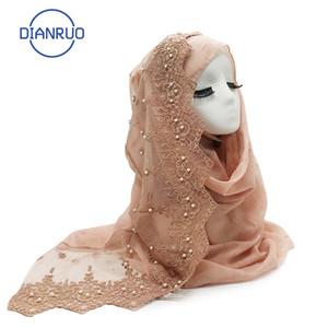 DIANRUO 90 * 180cm Frauen-Schal mit Perlen Femme Musulman Lange Tücher islamische Kopftuch Kleidung Muslim Stickerei Hijabs R158 201026