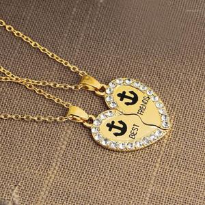 2 pcs / Set Meilleur amis Coeur Broken Anchor Symbole Symbole Collier amitié Couple Pendentif Chaîne Collier brillant Zircon Gold bijoux1