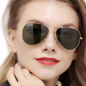 New Pilot UV400 Protection Classic Sunglasses Women Men Gold Frame Glass G15 Lens Glasses Scratch Proof AOOKO Sunglass 58mm 62mm