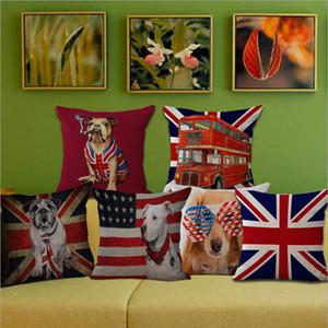 Respetuoso del medio ambiente funda de almohada de algodón británica National Dog Pet Bandera de lino cubiertas del amortiguador de la almohadilla de tiro Caso del lecho de la funda de almohada FWE2523