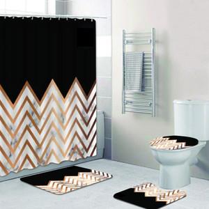 Luxus Black Gold Chevrons Zickzack Marmor Duschvorhang Set für Badezimmer Geometrische Goldene Folie Bad Vorhänge Matten Rug Home Decor 201102