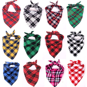 Size M 54cm and L 70cm Long Cotton Triangle Scarf for Dog Pets Supplies Apparel Plaid Christmas New Year Dress Halloween Dogs Neck Scarves