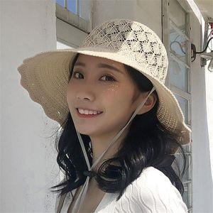 Широкие шляпы Breim 2021 летние женские женщины вкусовая гибкая складная солнечная шляпа на открытом воздухе лук-узел твердый # E05 оптом1