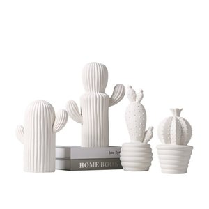 Nordic Style Plant Ornaments Ceramic Cacti Shaped Arts And Crafts For Home Bedroom Desktop Decor Furnishing High Quality 26bh BB