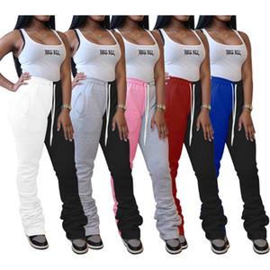 FNOCE Herbstfrauen Hosen junge Art und Weise beiläufige Patchwork hohe Taille gefaltete Bleistift-Hosen-dünne Sporthose