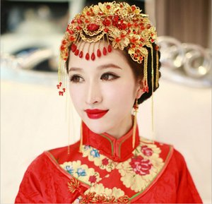 Vintage Chinese Style Classical Jewelry Traditional Bridal Headdress Wedding Hair Accessory Gilding Coronet Headwear