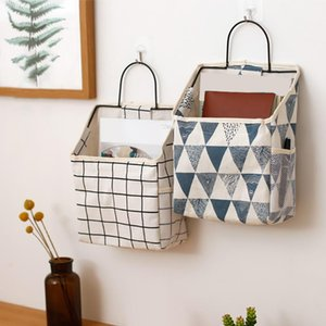 30# Wall-mounted Storage Bag Book Magazine Mobile Phone Holder Storage Bag With Hook Desktop Stationery Sundries Box