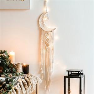 Elegante bohemia Macrame colgar de la pared Tapiz Mandala Luna Dreamcatcher decoración de la pared de Boho tejido de punto Tapices decoración del hogar