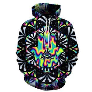Impression 3D strange new cool pattern geometry single hat jacket men's short sleeve hip-hop fashion and women's hat sweater