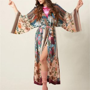 2020 Bohemian Floral Printed Summer Beach Wrap Dress Women Beachwear Cotton Tunic Sexy Front Open Dress Pareo sarong plage N653