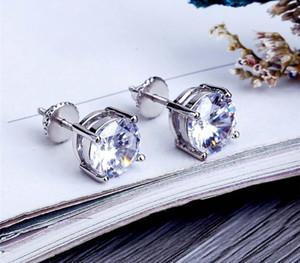 8mm Hip Hop CZ Earrings For Men Women Luxury Screw Back Earings Ring Full Dimaond Hip Hop Ear Stud Gold44