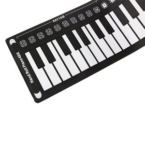 New 49 Keypad Black Beginner Practice Player Musical Instrument Abs Silica Gel Soft Portable Folding Piano Gift Kids S Toy -Mus