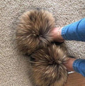 2021 Real Fur Slides Wholesale Furry Sliders Women Ladies Fur Slippers hand mada amazing Quality