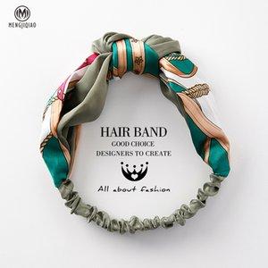 Mengjiqiao Kadınlar Aksesuar Moda Kafa Kumaş Çapraz Düğümlü Bow şifon Çiçek Saç Bandı Kore Headdress Bayanlar Hoop