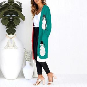 Donne Cardigan Natale Leopard Print Autunno Inverno tasca maglione maglia mujer invierno ropa mujer invierno 2021