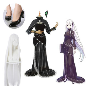 Anime Re Life in a different world from zero Echidna Cosplay Costume Women Black Dress Wig Shoes Cosplay
