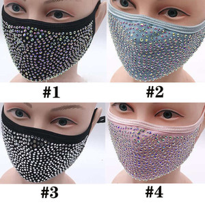 Fashion Dustproof Face Mask Bling Bling Diamond Protective Mask PM2.5 Mouth Masks Washable Reusable women Colorful Rhinestones FaceMask