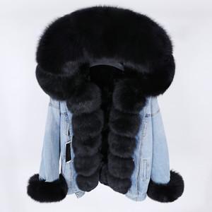 Maomaokong Denim Veste d'hiver avec grand col Fait de Fox naturel de fourrure, en vrac, élégant, chaud et lapin fourrure amovible Lini