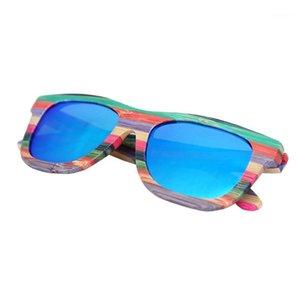 Старинные многоцветные бамбуковые поляризованные солнцезащитные очки для женщин Мужчины Blue Polarizer Brand Brand Sun Glasses Beach Eyeglasses1