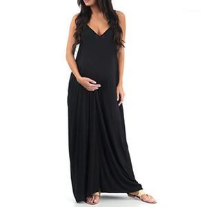 Robes de maternité Robe de grossesse sans manches V-Col V-Col Photographie Solide Long robe pour femmes enceintes Vêtements 20jun81