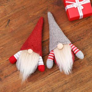 Árvore de Natal Plush Dolls Handmade dos desenhos animados Nisse decorações de suspensão do Xmas festiva Fluff Tabela Ornamento do presente DWD2258