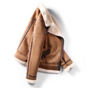 Faux женщин овчины Shearling пальто Новая теплая замша куртка мотоцикла Lamb Шубы Brown Leather Jacket AS30100X1016