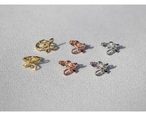925 sterling silver earring Fashion personality butterfly bow small ear ring ear bone buckle trend cute girl women jewel