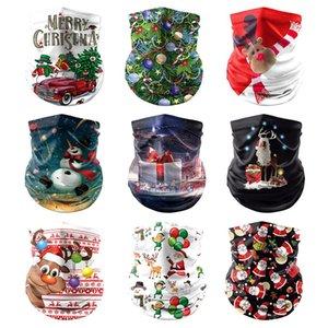 Bouclier Visage de Noël Multifonctionnel UV magique Turban Scarf Père Noël Imprimer antipoussière Outdoor Sport équitation Visage Masques XD24051