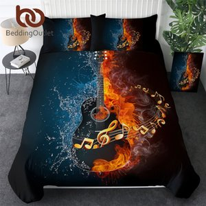 BeddingOutlet Fire And Water Guitar Bedding Set 3D Printed Duvet Cover Set Music Youth Bedclothes 3-Piece Vivid Bed Cover Queen