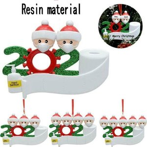 2020 Quarantine Decorazione natalizia resina dell'albero di Natale Pandemic Partito Social distanze Babbo Natale con maschera 2,3,4,5,6,7 persone