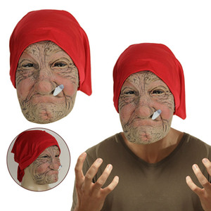Old Man Creepy Wrinkle Face Halloween Costume Mask Realistic Latex Masquerade Carnival Masks Hot Fun Toys