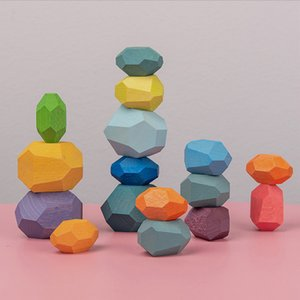 Wooden Rocks Stone Wood Balancing Stacked Baby Building Block Educational Montessori Toys