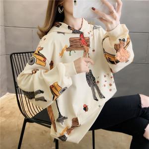 Cartoon print ladies hip hop tops streetwear loose pullovers spring autumn oversized hoodies women clothes new female sweatshirt
