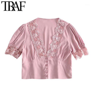 TRAF Women Sexy Fashion With Lace Trim Cropped Blouses Vintage V Neck Short Sleeve Female Shirts Blusas Chic Tops1