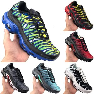 With Box NEW Tn Plus Black White Red Pink Breathable Net Gauze Running shoes Plus Tn Shock Cushioning Air Cushion Jogger Shoes