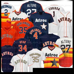 35 Justin Verlander 2 Alex Bregman 27 Jose Altuve 4 George Springer 1 Carlos Correa 7 Craig Biggio Baseball Camisas