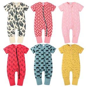 Kinder Kleidung Mädchen Jungen Streifen Fuchs Obst Tier Druck Strampler Infant Reißverschluss Kurzarm Jumpsuits Sommer Mode Baby Klettern Kleidung Z1382