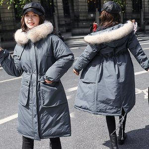 Parker cotton coat women long over the knee 2020 winter fashion new Korean version of waist big fur collar thick down padded