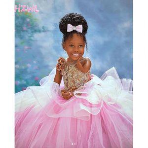 outh bola rosa Gall Flower Girl Dresses Africano para Pageant festa de aniversário do casamento 3D Flores meninas vestidos Baby Dress 2021