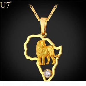 New Gold Lion Necklace for Men Hollow Crystal Platinum 18K Gold Plated African Jewelry Women African Map Necklaces P783