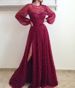 2020 New Sexy Red Prom Dresses Jewel Neck Illusion Lace Pearls Major Beading Long Sleeves Side Split Tulle Plus Size Party Evening Gowns
