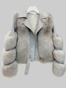 2020 Winter Real Fur Coat with Genuine Sheepskin Leather Jacket Long Sleeves 100% Natural Fur Coats for Women Thick Warm